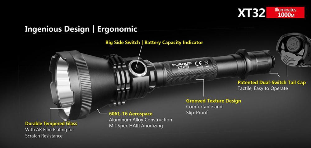 1000Lm Nitecore P30 XP-L HI V3 LED Flashlight 2x FREE CR123A Batteries