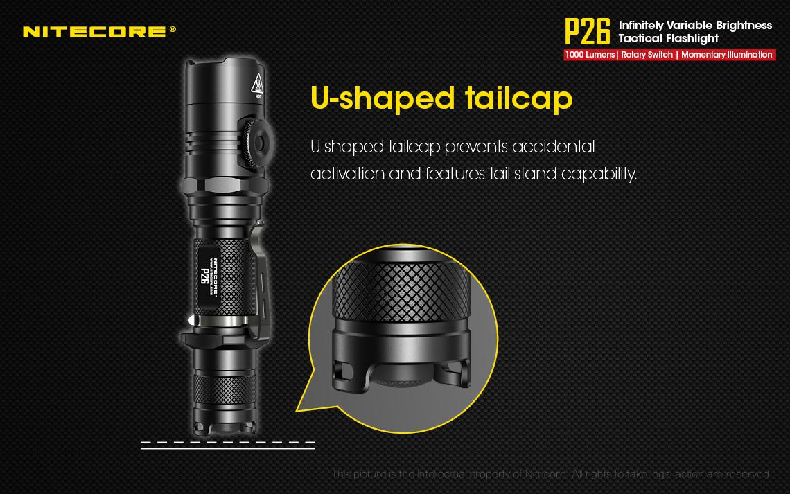 NITECORE P26 LED Tactical Flashlight 1000Lm w// VC4 Charger /& NL1835 Battery