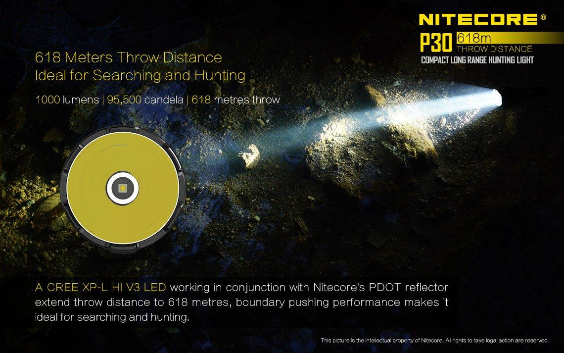 Nitecore P30 1000Lm LED Flashlight 1x NL1835 /& 2x CR123A Batteries