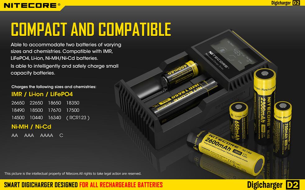 Car /& Wall Adaptor Nitecore Digi Charger D2 w//2x NL183 2300mAh 18650 Batteries