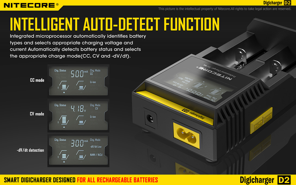 Car /& Wall Adaptors Nitecore Digi Charger D2 w//2x IMR 14500 Batteries Combo