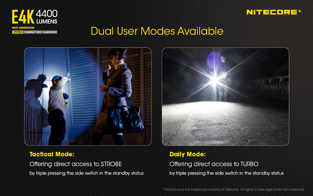 4400Lm w//Tiki LE Mini Keychain Combo NITECORE E4K Next generation Flashlight